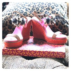 Rose bone walnut bright orange and pink wedges